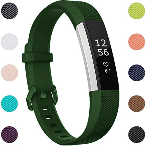 Maledan Replacement Bands Compatible for Fitbit Alta, Alta HR and Fitbit Ace, Newest Accessories Wristbands Sport Strap with Secure Metal Buckle for Fitbit Alta HR/Alta/Ace, Small, Green