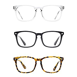 TIJN Unisex Wayfarer Non-prescription Glasses Frame Clear Lens Eyeglasses 3-Pack (G, transparent)