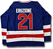 1980 Miracle on Ice Team Embroidered #21 Mike Eruzione USA Ice Hockey Jersey White Blue
