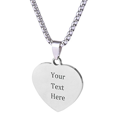 Caramel Custom Stainless Steel Pendant Necklace with Personalized Engraving 3 Shapes and 9 Chains to Choose (Metal Color & Heart - Name Heart Pendant
