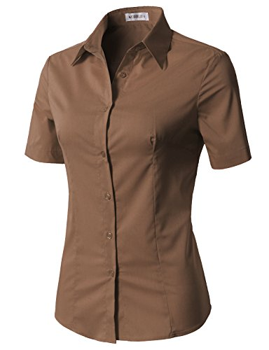 Striped Brown Color - CLOVERY Women's Basic Stretchy Short Sleeve Slim Fit Button Down Collared Shirt Khaki XS