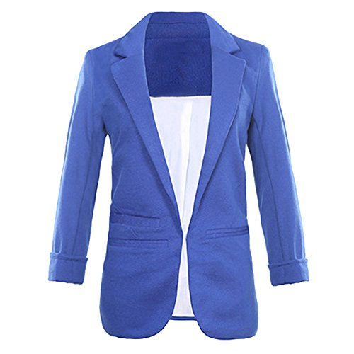 SEBOWEL Women's Fashion Casual Rolled Up 3/4 Sleeve Slim Office Blazer Jacket Suits Royal Blue L