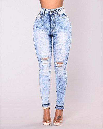Leggings Taille Femme Skinny Suncaya Dchir Collant Crayon Denim Pantalons Slim Pants Haute Bleu Jeans Clair qa8I8xHw