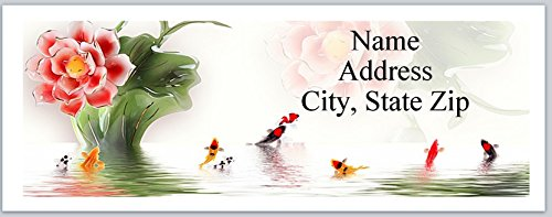 150 Personalized Address Labels Colorful Koi Fishes Water Lilies (P 589)