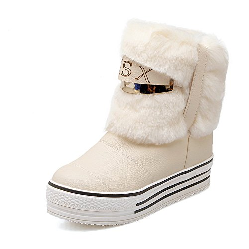 AllhqFashion Womens Blend Materials Round Closed Toe Low-heels Boots Beige JYAtFc