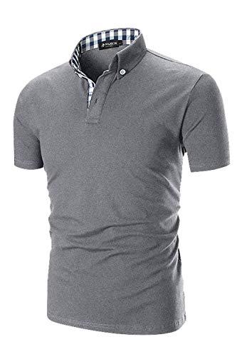 (Musen Men Short Sleeve Polo Shirt Causal Slim Fit Modern Glof Polo Shirts with Plaid Collar Grey Medium)