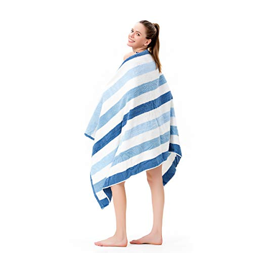 (LYH Beach Towel Luxury 100% Cotton Pool Towel, Super Soft XXL Large Size 70x35in Classic Stripe, for Indoors Outdoors, Blue+White-02)