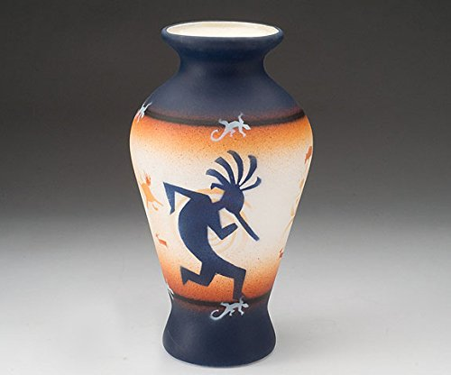 Mission Del Rey Native American Pottery -Authentic Navajo Indian Vases, Bowls, Figurines, Wedding Vases & Jewelry Boxes -Hand Painted, for Rustic Southwest Decor. (Kokopelli, 10