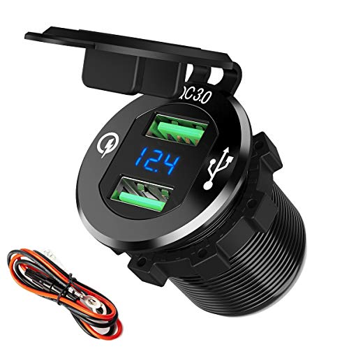 Quick Charge 3.0 Car Charger, SunnyTrip 12V/24V 36W Aluminum Waterproof Dual QC3.0 USB Fast Charger Socket Power Outlet Adapter w/LED Digital Voltmeter for Marine, Boat, Motorcycle, Truck, Golf Cart