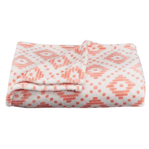 The Big One Super Soft Plush Throw Coral Diamonds