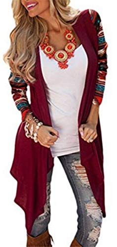 Irregular Maglia Pattern Manica Autunno Top Stampate Casual Battercake Donna A Donne Elegante In Cappotto Giacca Giaccone Casuale Baggy Burgund Lunga Confortevole wzxaBqp