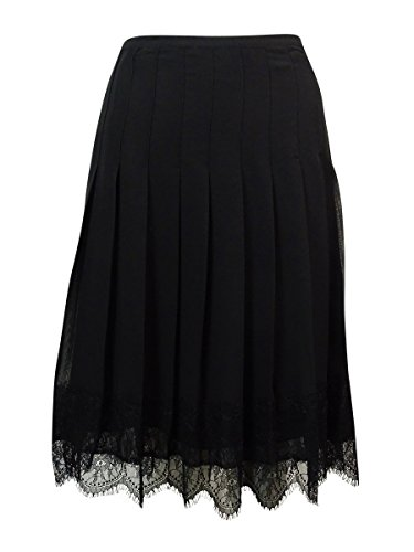 Lauren Ralph Lauren Women's Pleated Lace-Trim Skirt 4 Black