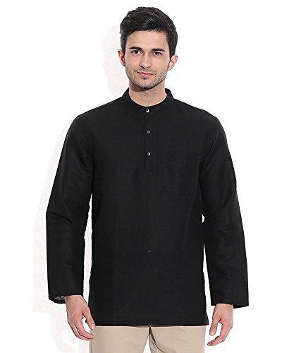 Royal Kurta Men's Summer Wear Fine Cotton Blended Straight Kurta 38 Black