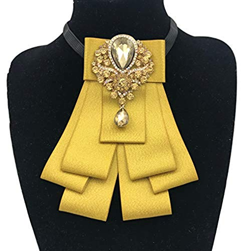 High-grade Rhinestone Women Crystal Bow Brooches Collar Pin Jewelry ribbon Fabric Bowknot (Gold)