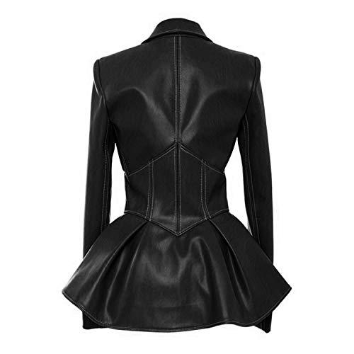 pour femmes armée similicuir col vert printemps cuir manteau veste gothique 2019 V noir en en plissé les Veste mode EIHqFwH