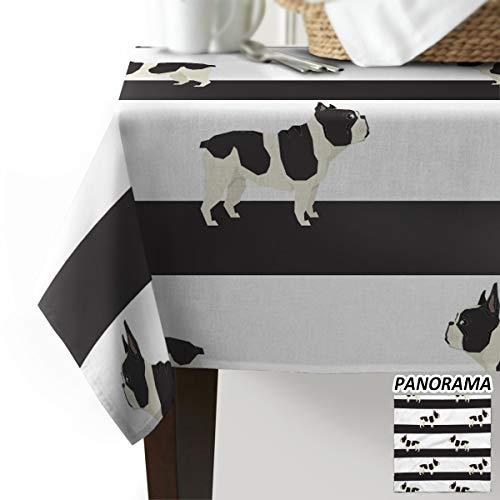 Luck Sky Dog Table Cloth, French Bulldog Cotton Linen Table Cloths for Kitchen, Modern Decorative Dining Table Cover -Printed Fabric Outdoor Patio Table Cover - Rectangle Table C 54 x 79(138 x 200cm)