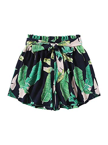WDIRARA Women's Casual Belted Paperbag Waist Tropical Print Shorts Green L