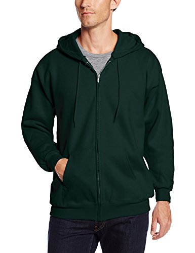 Hanes Men's Full Zip Ultimate Heavyweight Fleece Hoodie, Deep Forest, Large