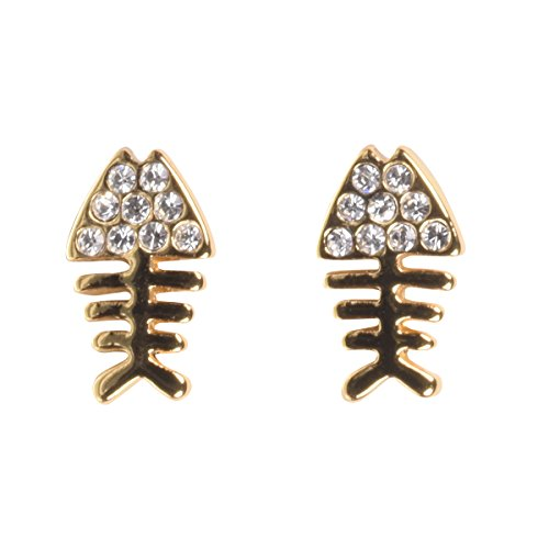 16k Gold Plated Fishbone Earrings with Czech Crystals and Titanium Posts by Zoetik