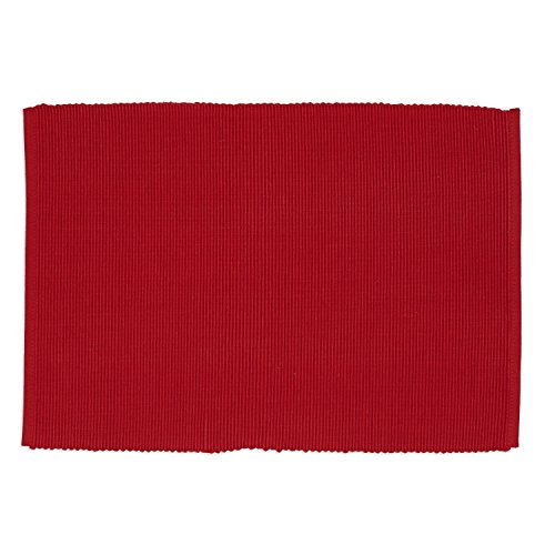 (DII Washable Ribbed Cotton Placemat, Set of 6, Candy Apple - Perfect for Fall, Dinner Parties, BBQs, Christmas, Weddings and Everyday Use)