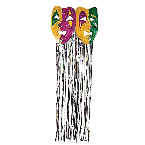 Fun Express - Mardi Gras Mask W/fringe Curtain for Mardi Gras - Party Decor - Door Decor - Door Borders & Curtains - Mardi Gras - 1 Piece ()