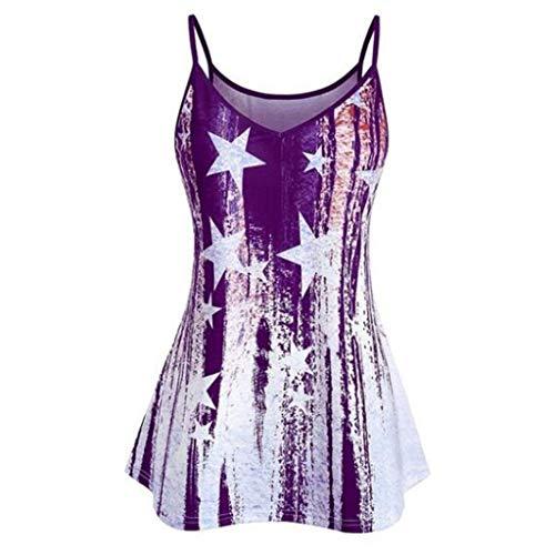 (Womens Sexy Tops 2019, YEZIJIN Women Sleeveless National Flag Print Shirt Loose Tank Top Blouse Purple)