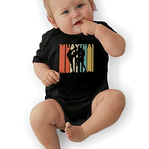 Short Sleeve Cotton Rompers for Unisex Baby, Fashion Retro Style Muay Thai Silhouette Onesies Black ()