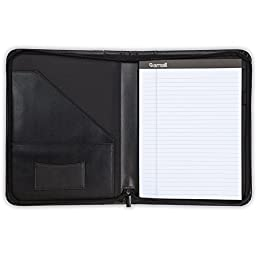 "Samsill Contrast Stitch Leather Padfolio – Lightweight & Stylish Business Portfolio for Men & Women – Resume Portfolio with Wraparound Zipper, 8.5"" x 11"" Writing Pad – Black"