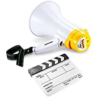 Neewer Film Clapboard & Megaphone Kit: (1)10x12/25x30cm Dry Erase Acrylic Clapboard with White & Black Sticks + (1)10W Megaphone with Siren, Voice Recorder and Audio Memory for Voice Playback