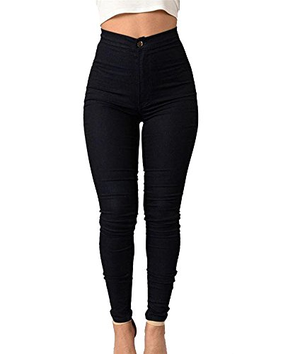 Alta Pantaloni Nero Casuale Donne Jeans Leggings Elastico Denim Skinny Vita 4Tx4IqwPz5