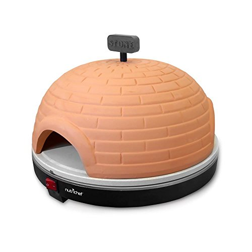 NutriChef Upgraded Electric Pizza Oven - Artisan  Version 1100 Watt Countertop Pizza Maker, Mini Pizza Oven, Terracotta Cookware, Stone Clay Cooking Surface, Classic Italian, 464F Max Temp - PKPZ950