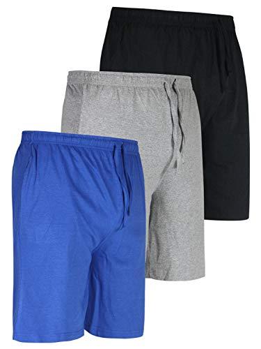 3 Pack:Men's Jersey Knit Cotton Pajama Bottoms Shorts Sleep Bamboo Modal Lounge Wear PJ-Set 1,S - Modal Sleep Short