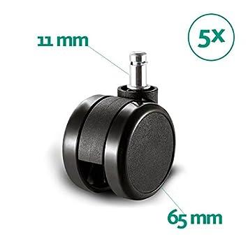 La Silla de Claudia - Ruedas Silla Goma Oficina Enganche 11 mm - 65 mm diámetro Juego de Repuesto sillas Escritorio giratoria para Suelo parquet (Pack ...