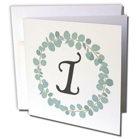 3dRose Janna Salak Designs Monogram Collection - Letter I Monogram Eucalyptus Leaves Wreath Elegant Greenery - 12 Greeting Cards with envelopes (gc_261591_2) ()