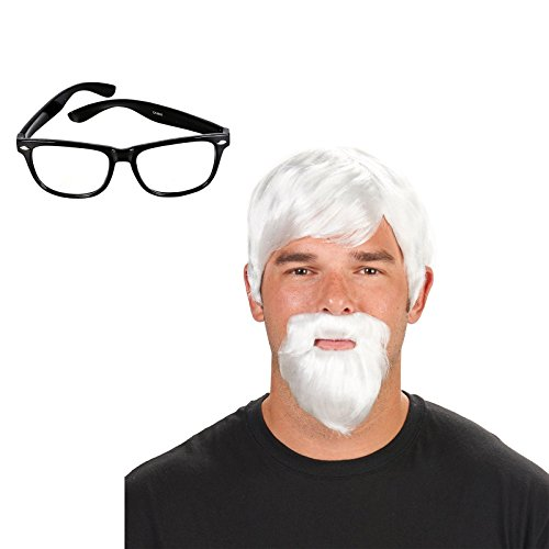 [White Colonel Adult Wig with Beard and Glasses Bundle Set] (Colonel Sanders And Chicken Costumes)