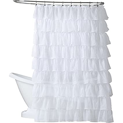 GoodGram Ultra Luxurious Gypsy Ruffled Crushed Sheer Layered Shower Curtain White