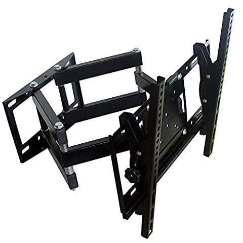 Full Motion TV Wall Mount Swing Six Arm Bracket for most 26 - 55 inch Flat Screen Panel Plasma Monitor LED LCD up to 110 lb VESA 200mmx200mm to (28 Flip Down Monitor)