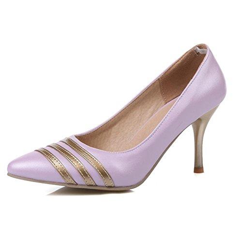 XIAOGANG H HCuatro estaciones de las mujeres (azul blanco.) Rosa. Púrpura franja de oro talón fino-zapatos puntiagudos goma resistente al desgaste inferior antideslizante, purple, 39