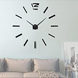 Vangold Modern DIY Wall Clock Large Frameless 3D Wall Clock Mirror Stickers Silent Home Living Room Office Decor ( 2-Year Warranty)