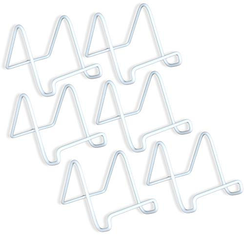 Wire Easel Plate Stands Display Holder White - White Metal - 3 Inch - Pack of 6 ()