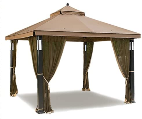 Garden Winds Lighted Gazebo Replacement Canopy Top Cover and Netting - RipLock 350