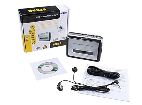 (USB Cassette-to-MP3 Converter Capture, Actpe Audio Super USB Portable Cassette/ Tape to PC MP3 Switcher Converter with Headphone)