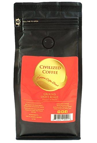 Light Blonde Roast Ground African Kenyan AA Blend Arabica Coffee Beans vented 12oz bag