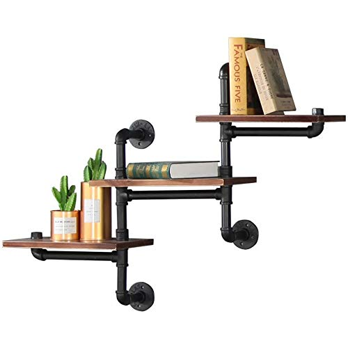 (Utility Shelves 2 Layer Wall Shelf Loft Retro Industrial Style Iron Wood for Living Room Bedroom Home 3 Layer Decorative Floating Display Partition Storage Rack Home Decoration Multi-functional Racks)