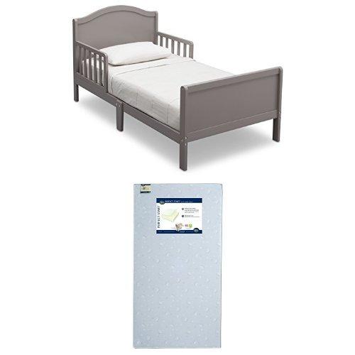 Delta Children Bennett Toddler Bed, Grey with Serta Perfect Start Crib and Toddler Mattress