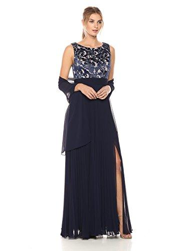[해외]알렉산드라 이브닝 여자 긴 수 놓은 치마와 목도리로 수 놓은 몸통/Alex Evenings Women`s Embroidered Bodice With Long Pleated Skirt and Shawl