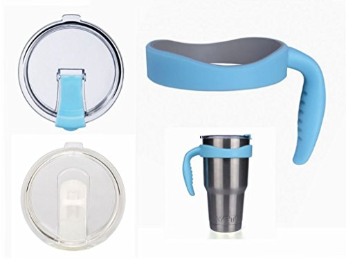 YOLOPLUS 1 Attachable Cup Handle Holder and 2 Cup Cover Spill and Leak Proof Lids For Yeti 30 oz Rambler Tumbler Stainless Steel,RTIC, SIC,Ozark Trail Mug (NEW BLUE SET)