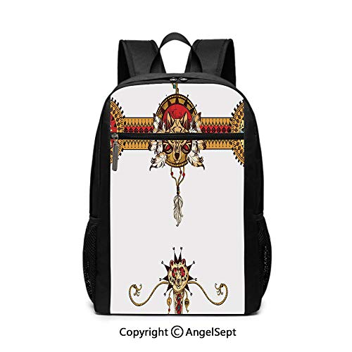 Totem Longboard - Middle School Backpack,Hand Drawn Tribal Illustration with Ethnic Animal Bear Totem Abstract Decorative,Apricot Dark Coral Brown,6.5
