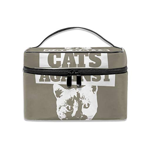 Cats-against-cat-calls Multifunctional Travel Makeup Bags With Handle,quality Zipper With Mesh Pocket