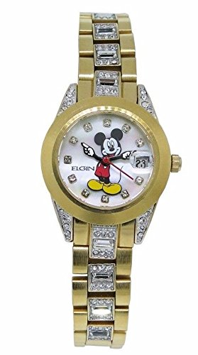 New Womens Elgin Disney Mickey Mouse MCK208 Date Gold Tone Bracelet Watch (Gold Mouse Tone Mickey)